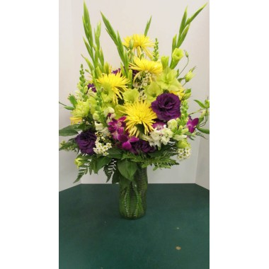 Vase Arrangement, Yellows, whites and purples