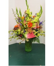Vase Arrangement, with Greens, Pinks, Oranges and Blues