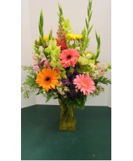 Vase Arrangement with, Oranges, Yellow, Pink and Green