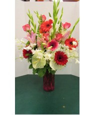 Vase Arrangement, with Whites, Reds and Pinks
