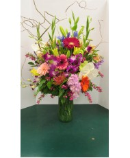 Vase Arrangement, with Whites, Pinks, Purples and Reds