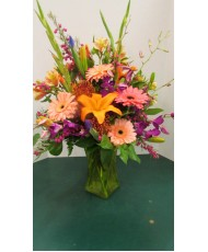Vase Arrangement, with Pinks, Oranges, and Purples