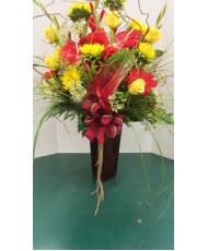 Vase Arrangement with Reds and Yellows