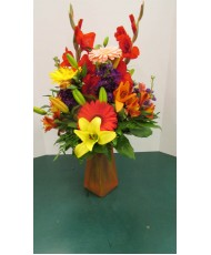 Vase Arrangement, with Reds, Oranges and Yellows