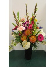 Vase Arrangement with Whites, Purples, Pinks and Blues