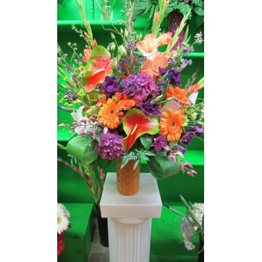Tropical Arrangement with Hydrangea, Orchids and Anthirium