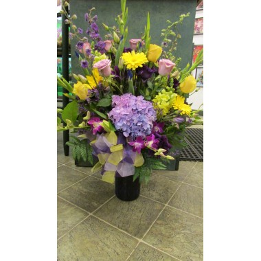 Vase Arrangement with Lavenders and Purples