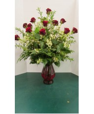 Dozen Roses, with greenery and filler