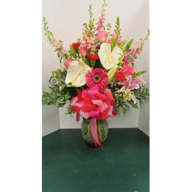 Tropical Arrangement, Pink and white flowers