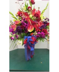Tropical Arrangement, Anthirium, reds and purples