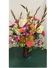 Vase Arrangement with Purples, Pinks, Oranges