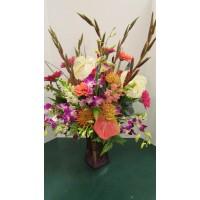 Vase Arrangement with Purples, Pinks, Oranges