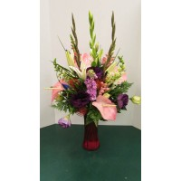 Vase Arrangement, with Pinks, Purples and Blues