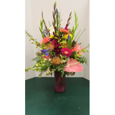 Vase Arrangement with Pinks and Blues