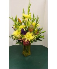 Vase Arrangement, with Yellows, Purples and Oranges