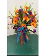 Vase Arrangement with Oranges, Purples and Whites