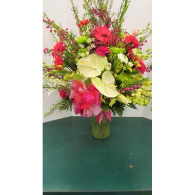 Vase Arrangement, with Pinks, Whites and Greens