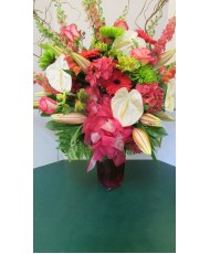 Vase Arrangement, with Greens, Pinks and Whites