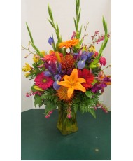 Vase Arrangement, with Oranges, Pinks, Yellow