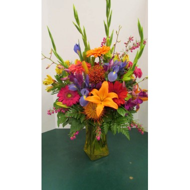 Vase Arrangement, with Oranges, Pinks, Blues, Yellow