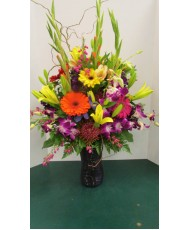 Vase Arrangement, with Purples, Oranges, Yellows