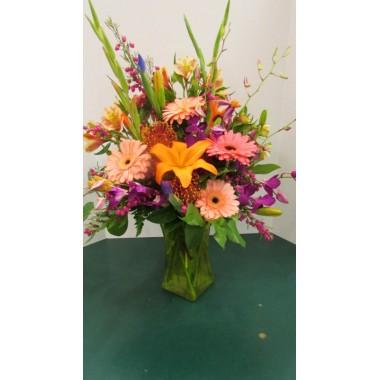 Vase Arrangement, with Pinks, Oranges, and Purples