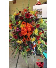 Easel Arrangement- Oranges, reds, yellows