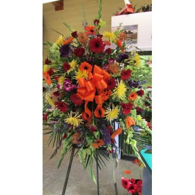 Easel Arrangement- Oranges, reds, yellows