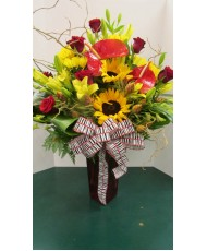 Vase Arrangement, with Sunflowers, and Reds