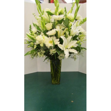 Vase Arrangement with all White Flowers