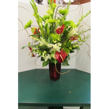 Vase Arrangement, with Greens, Whites and Reds